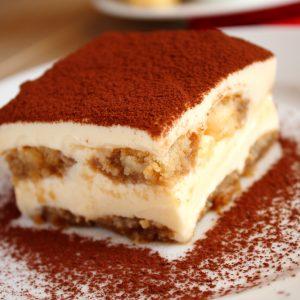 Tiramisu cake on the plate